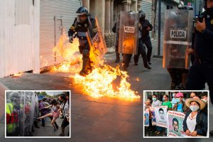 Protesters hurl Molotov cocktail at cops in Mexico on 6th anniversary of mystery disappearance of 43 students